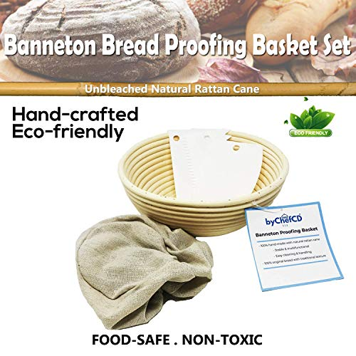 9 Inch Round Bread Basket Proofing Set - Banneton Proofing Basket + Cloth Liner + Bowl Scraper + Smoother - ByChefCd Cooking products seller from Orlando, FL