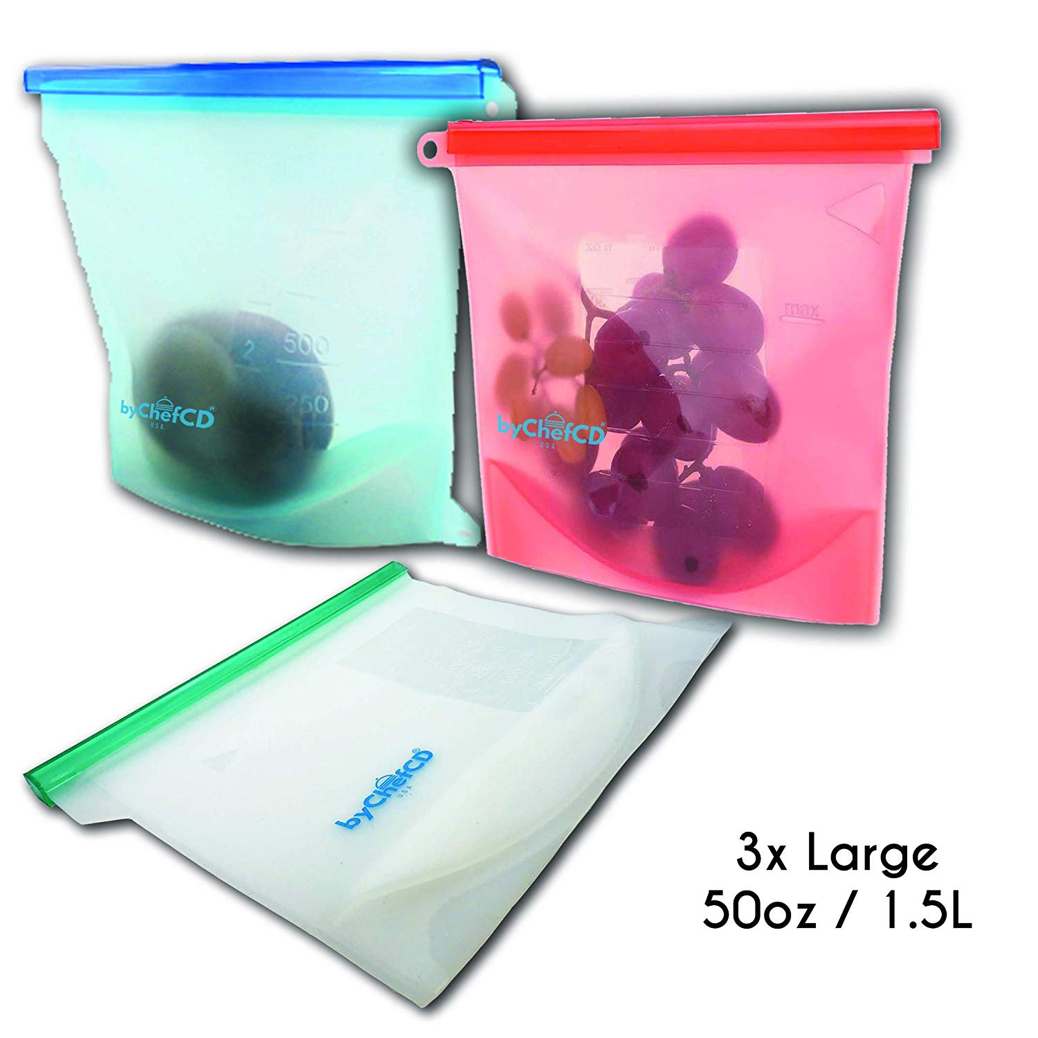 LARGE Reusable Silicone Storage Bags (3x 50oz) - ByChefCd Cooking products seller from Orlando, FL