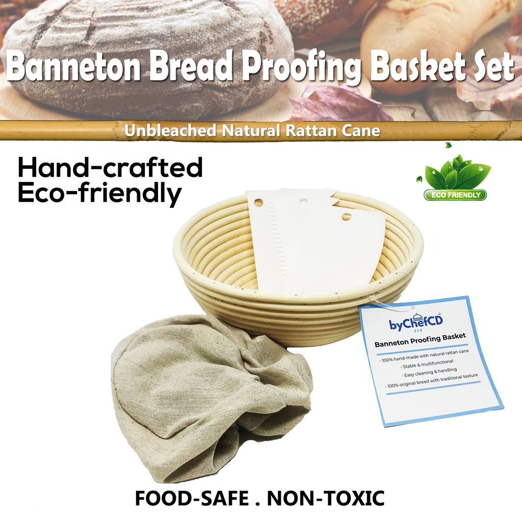 10 Inch Round Bread Basket Proofing Set- Banneton Bread Proofing Basket + Cloth Liner + Bowl Scraper + Smoother - For Home Bakers and Professionals- Great for Sourdough Starter ByChefCD - ByChefCd Cooking products seller from Orlando, FL