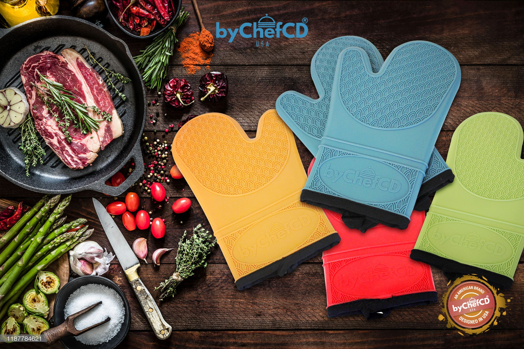 Professional Silicone Oven Mitts - Non-Slip Gloves, Kitchen Potholders, Heat Resistant Grill Mitts - ByChefCd Cooking products seller from Orlando, FL