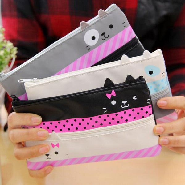 ♥ Double Zipper Cat Pencil Pouch ♥