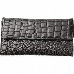 Brown Embossed Faux Alligator Wallet