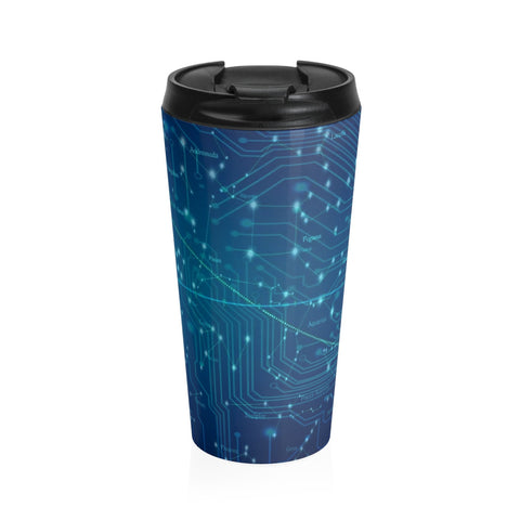 Computer Blue Stainless Steel Travel Mug
