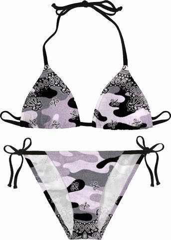 Love Is A Battlefield Black Bikini Camo Bikini Army Camo Bandana Print