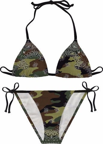 Love Is A Battlefield Green Bikini Camo Bikini Army Camo Bandana Print