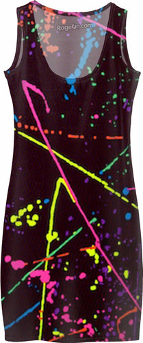 Paint Splatter Dress Black