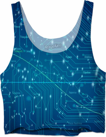 Computer Blue Loose Crop Tank