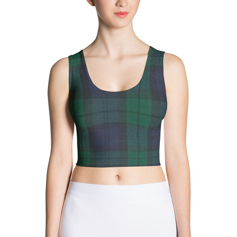 green plaid fitted crop tank top