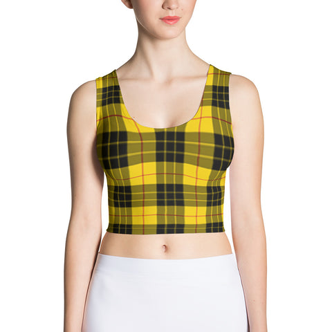 yellow plaid fitted crop tank top