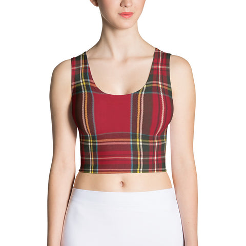 red plaid fitted crop tank top
