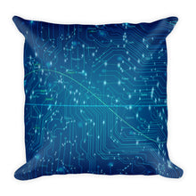 Computer Blue Square Pillow