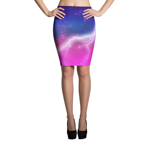 Electric Universe Sky Pencil Skirt