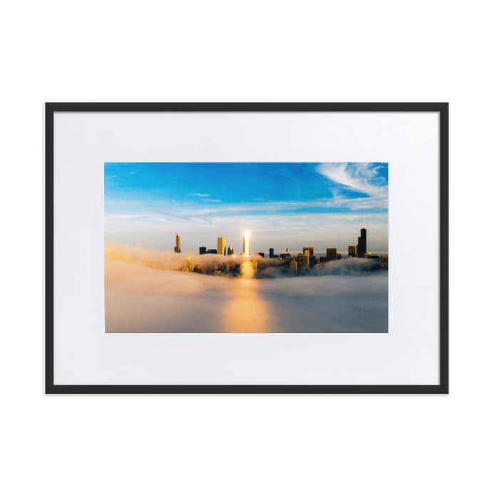 Chicago Skyline Sun Glare Framed Poster With Mat