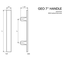 "GEO series cast bronze handle 7"", various finishes."