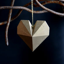 GEO heart with linen string or no hole, various finishes.