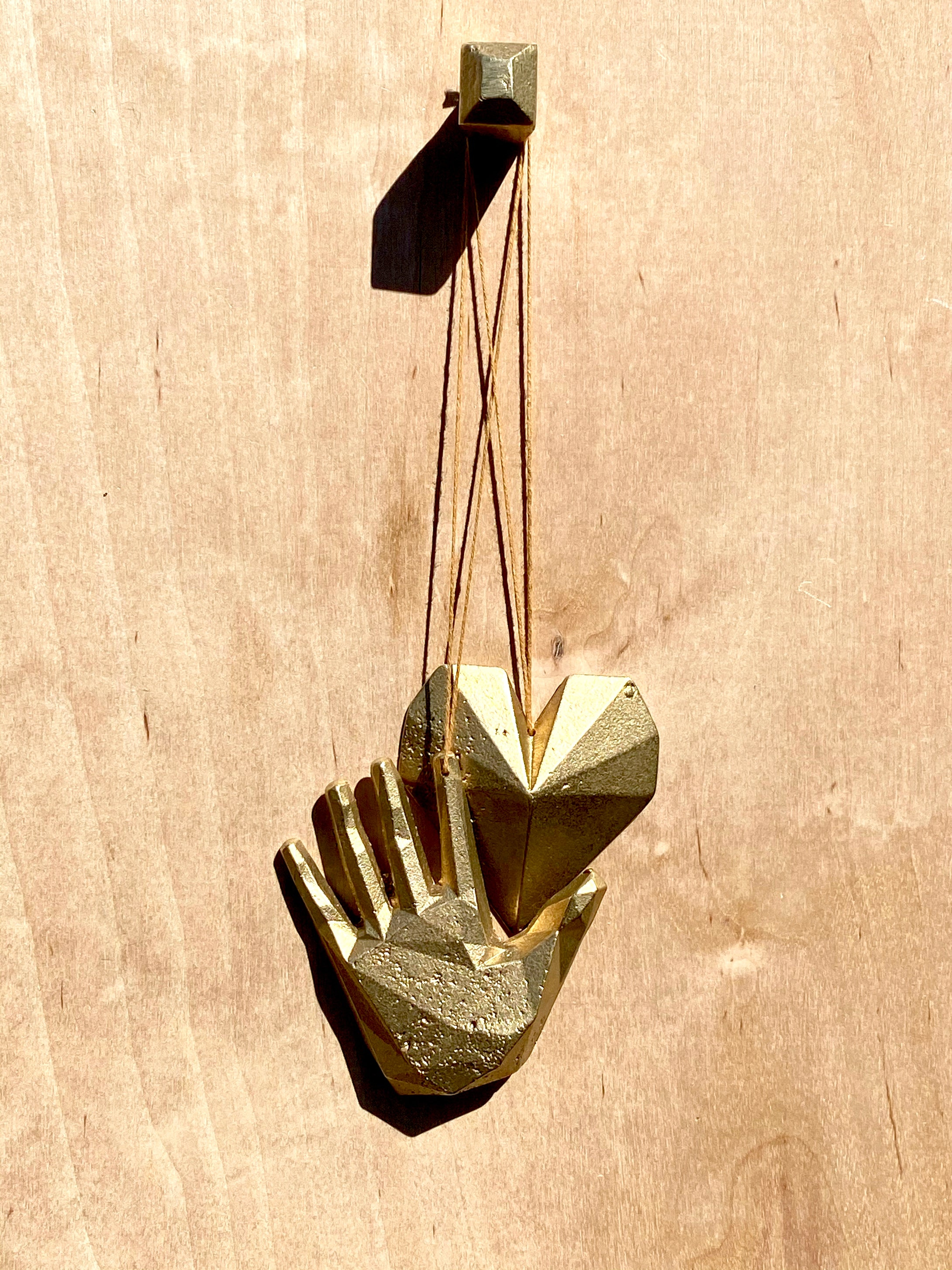 'LOVE' set. Cast bronze knob, hand and heart trio.