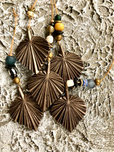 GEO series bronze palm leaf with vintage bone, glass and brass beads.