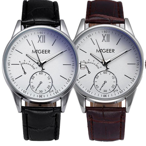 Migger Striped Leather Analog Watch
