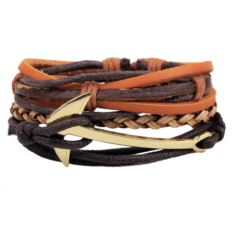 4 Piece Multi-Layer Leather Bracelet