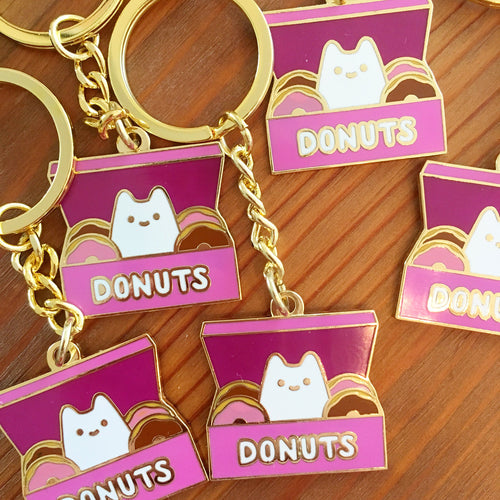 Less-than-perfect Donut Box Baby Cat Keychain