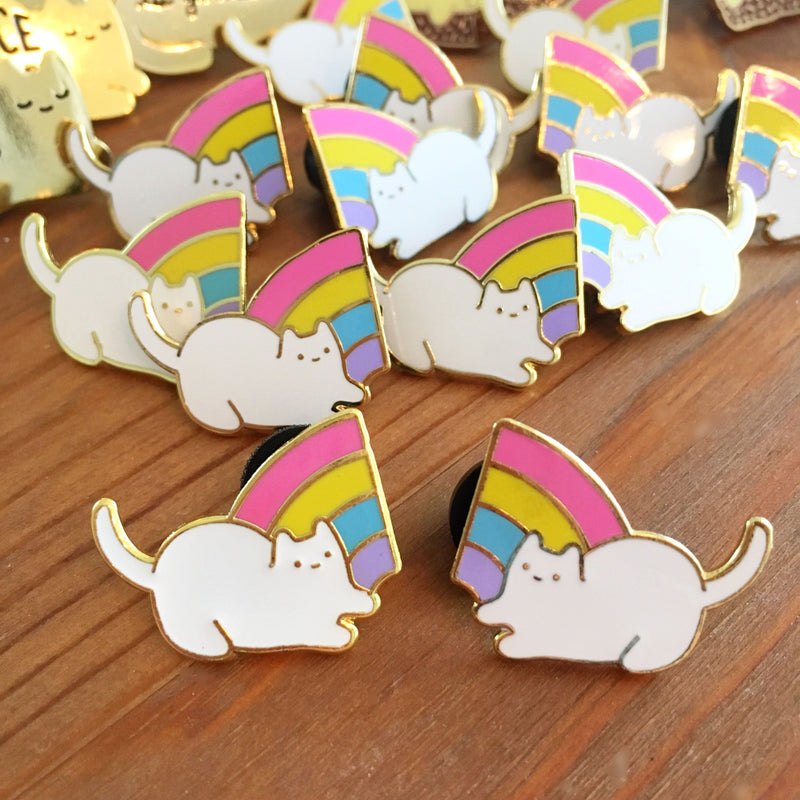 Less-than-perfect Baby Cat Rainbow Pals Enamel Pin Set