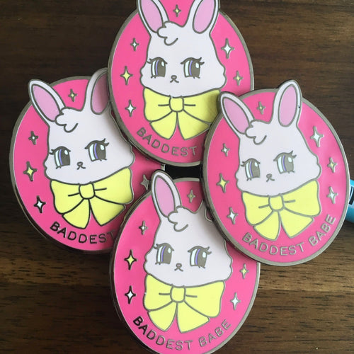 Less-than-perfect Baddest Babe Bunny Enamel Pin