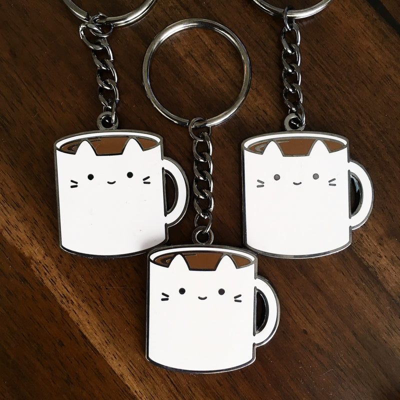Less-than-perfect Coffee Cat Keychain