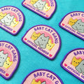 badge patch cute baby cat retro iron pink hearts