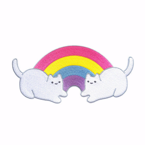 rainbow colorful iron-on embroidery kittens kawaii patch