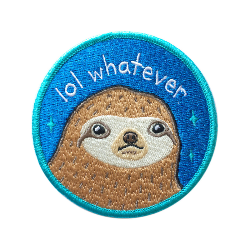 sloth cute lol whatever patch iron-on blue and green