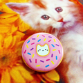 Pink Donut Cat Button