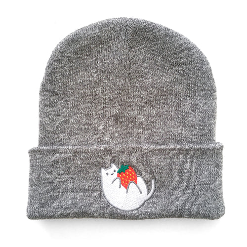 Grey Strawberry Baby Cat Beanie