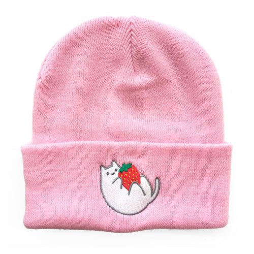 Pink Strawberry Baby Cat Beanie
