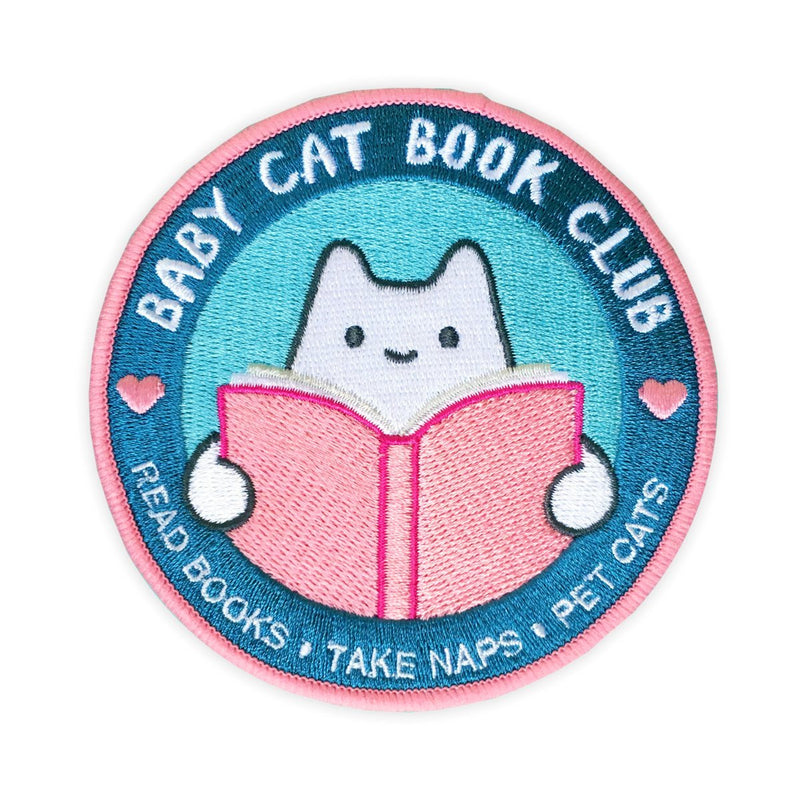 cat book club iron-on patch with text read books take naps pet cats