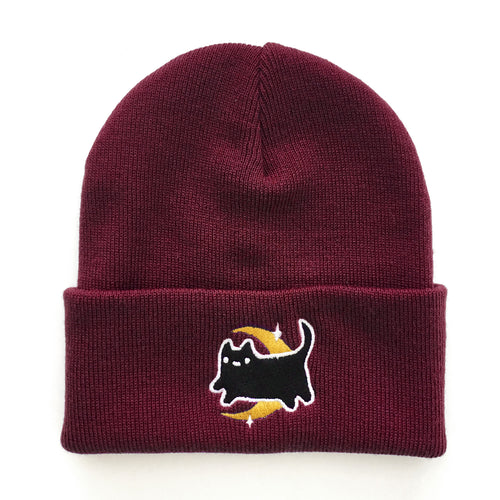 Burgundy Midnight Baby Cat Beanie