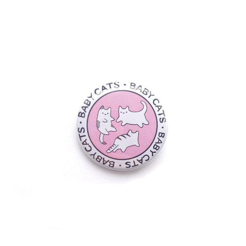 pastel pink circular flying kittens baby cats badge button