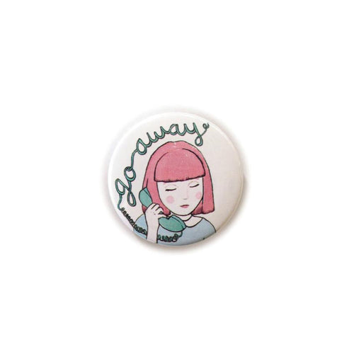 pink hair girl illustration badge cute retro phone go away pin