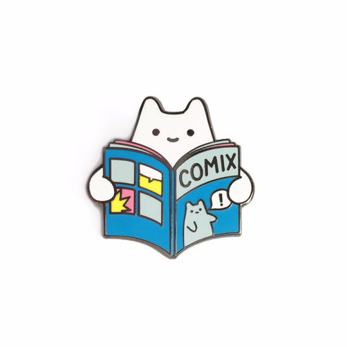 Comic Book Baby Cat Enamel Pin