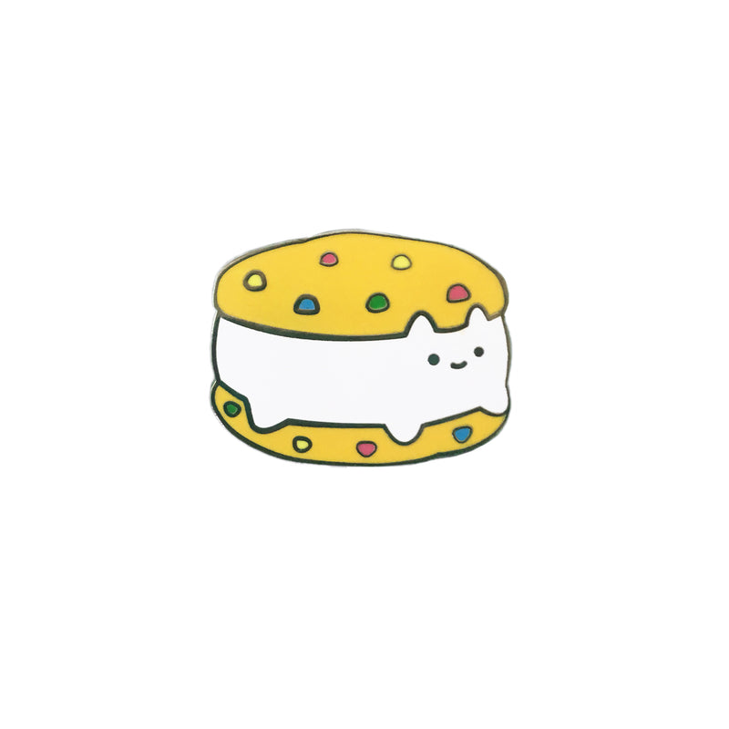 Cookie Sandwich Cat Enamel Pin - Rainbow Chip