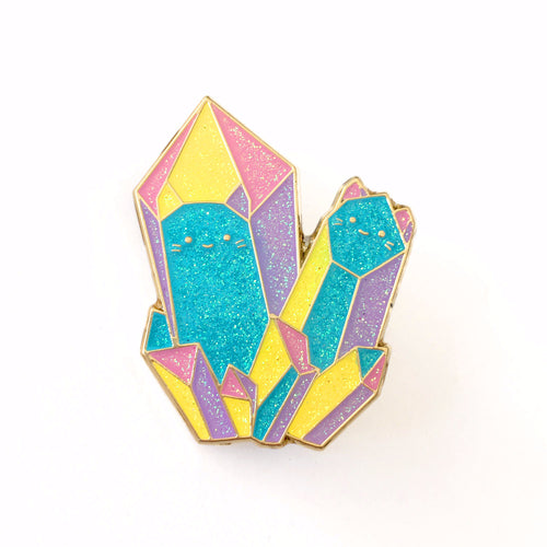 Glitter Rainbow Crystal Cats Enamel Brooch