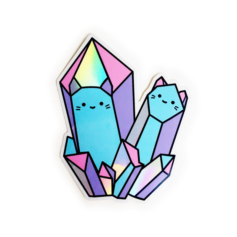 Rainbow Crystal Cats Holographic Sticker