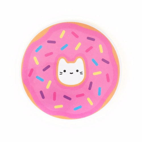 Pink Donut Cat Vinyl Sticker