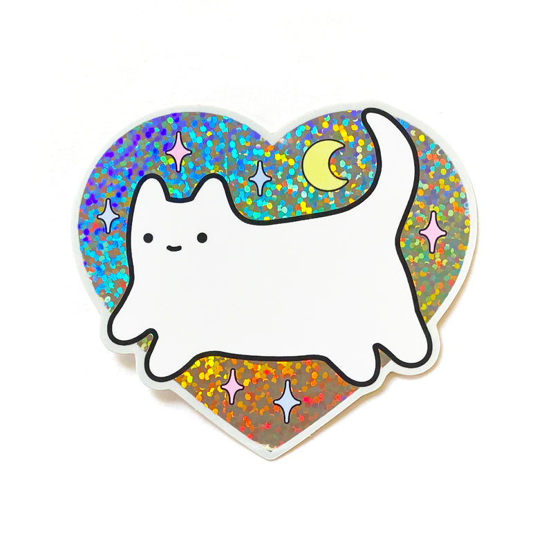 Baby Cat Holographic Glitter Heart Sticker