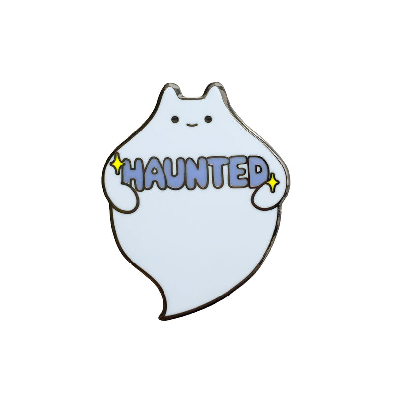'Haunted' Ghost Cat Enamel Pin