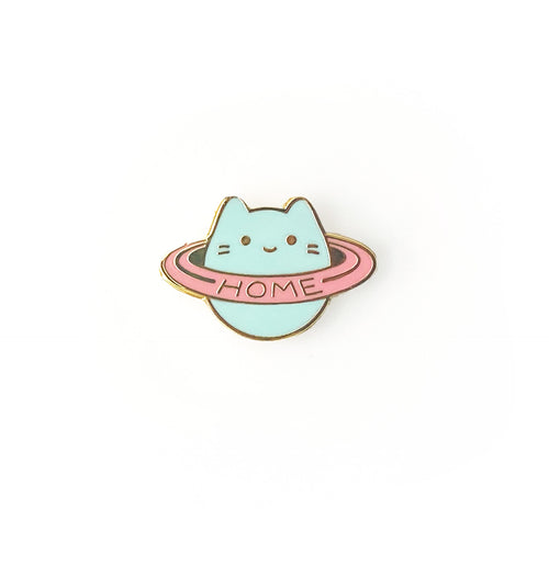 Baby Cat Home Planet Enamel Pin