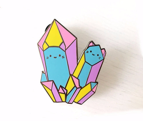 rainbow crystal geo cats kittens enamel lapel pin