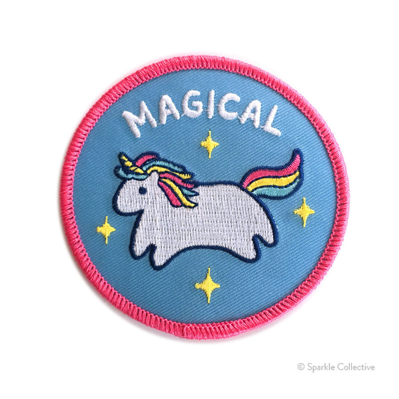 unicorn rainbow magical sparkle blue and pink embroidered patch