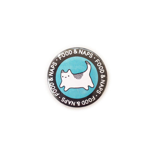 circular black and blue food and naps kitten cat badge