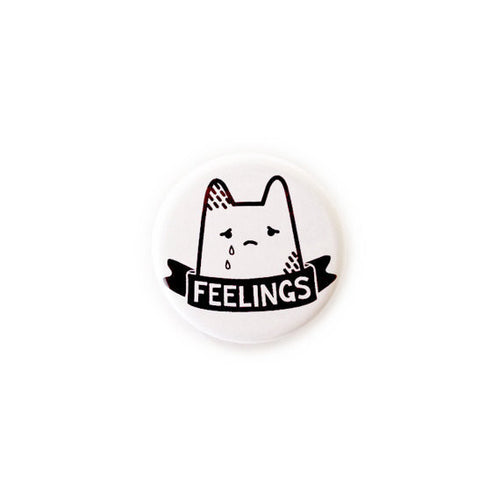 cute kawaii sad cat kitten crying minimalist badge