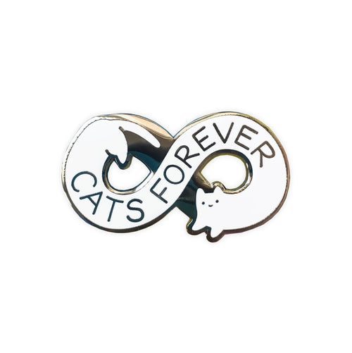 white infinity symbol shaped cat with text that says cats forever